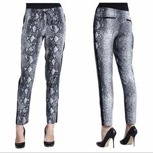 Rebecca Taylor snakeskin print pants joggers black